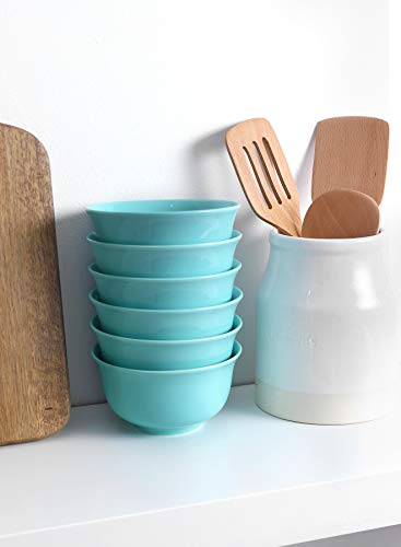 Teocera Porcelain Cereal Bowl Soup Bowls Set Deep Bowls 20 Ounce For Cereal Soup Oatmeal Microwave Safe Set Of 6 Turquoise 0 5
