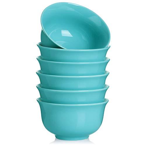 Teocera Porcelain Cereal Bowl Soup Bowls Set Deep Bowls 20 Ounce For Cereal Soup Oatmeal Microwave Safe Set Of 6 Turquoise 0
