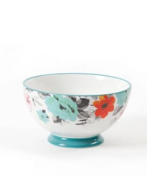 The Pioneer Woman 8271204R Flea Market 6 Decorated Footed Bowls Floral Teal Set Of 4 0 0 300x360