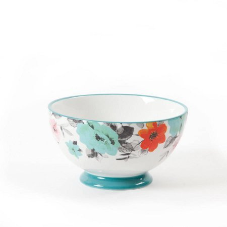 The Pioneer Woman 8271204R Flea Market 6 Decorated Footed Bowls Floral Teal Set Of 4 0 0