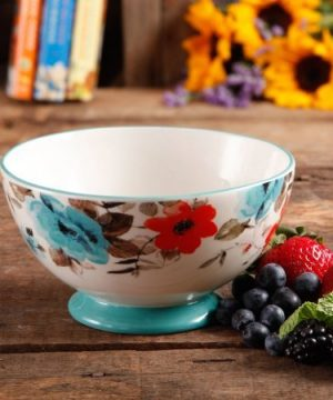 The Pioneer Woman 8271204R Flea Market 6 Decorated Footed Bowls Floral Teal Set Of 4 0 1 300x360