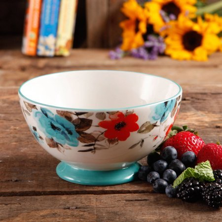 The Pioneer Woman 8271204R Flea Market 6 Decorated Footed Bowls Floral Teal Set Of 4 0 1