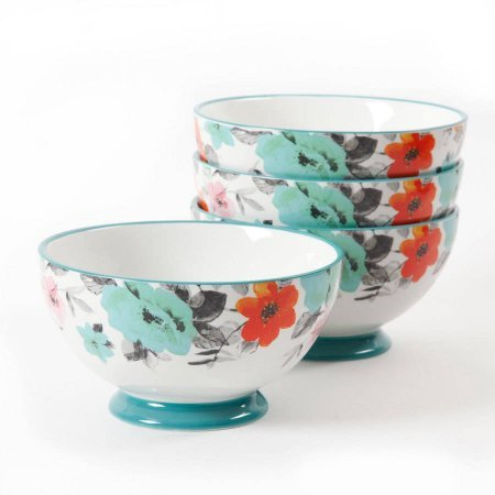 The Pioneer Woman 8271204R Flea Market 6 Decorated Footed Bowls Floral Teal Set Of 4 0