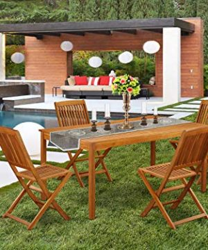 This 5 Pc Acacia Outdoor Patio Sets Provides You One Outdoor Table And 4 Chairs 0 300x360