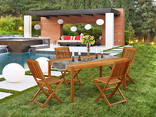 This 5 Pc Acacia Outdoor Patio Sets Provides You One Outdoor Table And 4 Chairs 0