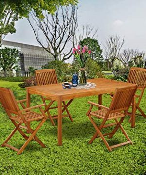 This 5 Pc Acacia Wood Courtyard Dining Sets Offers An Outdoor Table And Four Patio Dining Chairs 0 0 300x360