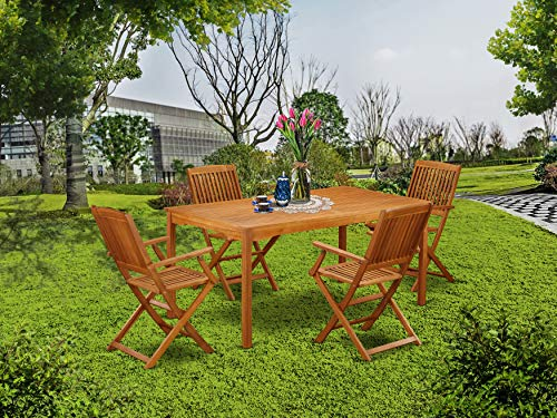 This 5 Pc Acacia Wood Courtyard Dining Sets Offers An Outdoor Table And Four Patio Dining Chairs 0 0