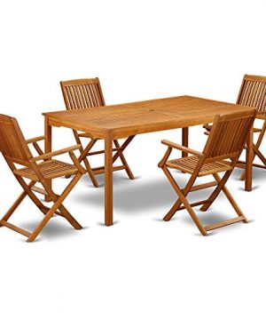 This 5 Pc Acacia Wood Courtyard Dining Sets Offers An Outdoor Table And Four Patio Dining Chairs 0 300x360