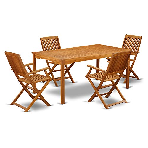 This 5 Pc Acacia Wood Courtyard Dining Sets Offers An Outdoor Table And Four Patio Dining Chairs 0