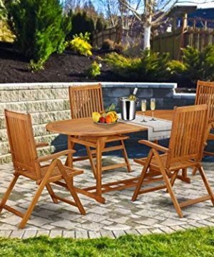 This 5 Pc Acacia Wooden Patio Dining Sets Includes One Particular Outdoor Table And 4 Chairs 0 300x360