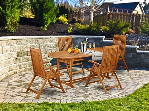 This 5 Pc Acacia Wooden Patio Dining Sets Includes One Particular Outdoor Table And 4 Chairs 0