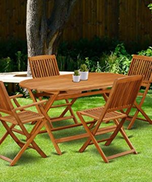 This 5 Piece Acacia Hardwood Outdoor Patio Sets Provides You One Particular Outdoor Table And Four Patio Dining Chairs 0 0 300x360