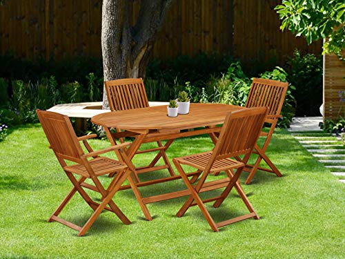 This 5 Piece Acacia Hardwood Outdoor Patio Sets Provides You One Particular Outdoor Table And Four Patio Dining Chairs 0 0
