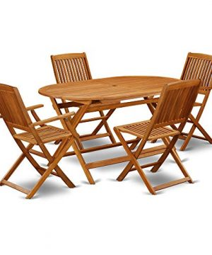 This 5 Piece Acacia Hardwood Outdoor Patio Sets Provides You One Particular Outdoor Table And Four Patio Dining Chairs 0 300x360