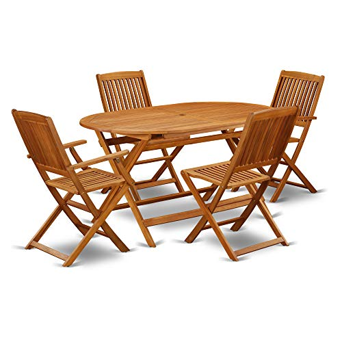 This 5 Piece Acacia Hardwood Outdoor Patio Sets Provides You One Particular Outdoor Table And Four Patio Dining Chairs 0