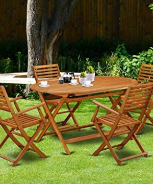 This 5 Piece Acacia Wooden Balcony Sets Includes A Single Outdoor Table And 4 Foldable Outdoor Chairs 0 0 300x360