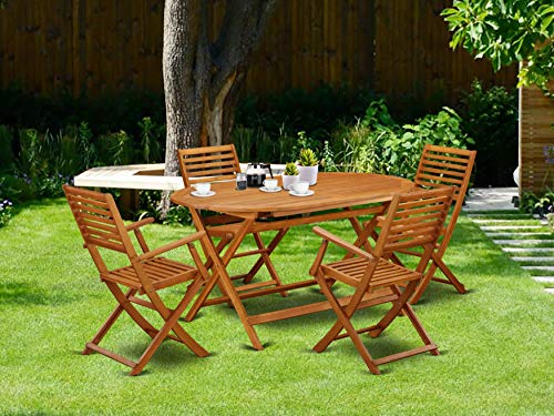 This 5 Piece Acacia Wooden Balcony Sets Includes A Single Outdoor Table And 4 Foldable Outdoor Chairs 0 0