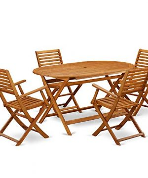 This 5 Piece Acacia Wooden Balcony Sets Includes A Single Outdoor Table And 4 Foldable Outdoor Chairs 0 300x360