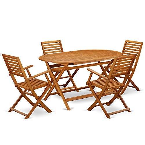 This 5 Piece Acacia Wooden Balcony Sets Includes A Single Outdoor Table And 4 Foldable Outdoor Chairs 0