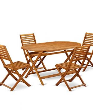This 5 Piece Acacia Wooden Courtyard Dining Sets Offers An Outdoor Table And 4 Chairs 0 0 300x360