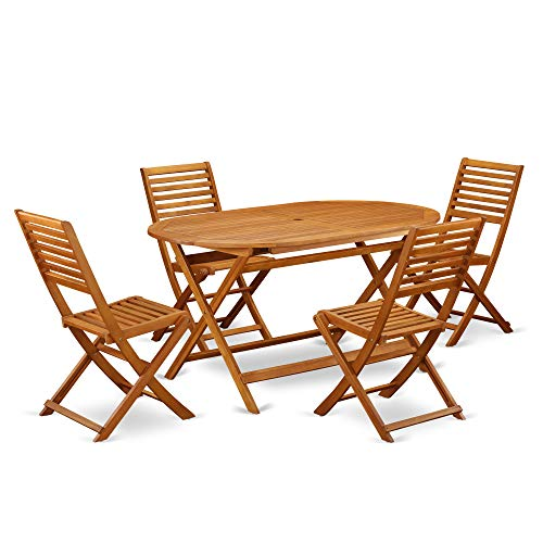 This 5 Piece Acacia Wooden Courtyard Dining Sets Offers An Outdoor Table And 4 Chairs 0 0