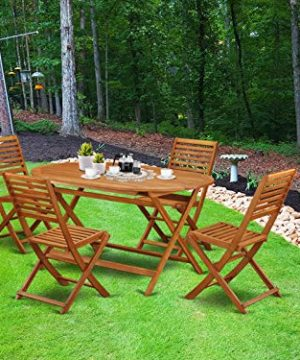 This 5 Piece Acacia Wooden Courtyard Dining Sets Offers An Outdoor Table And 4 Chairs 0 300x360
