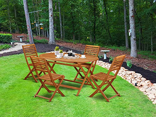 This 5 Piece Acacia Wooden Courtyard Dining Sets Offers An Outdoor Table And 4 Chairs 0