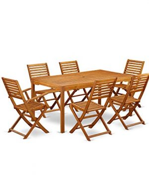 This 7 Pc Acacia Hardwood Patio Area Sets Includes A Single Outdoor Table And 4 Side Foldable Chairs Plus 2 Arm Foldable Outdoor Chairs 0 300x360