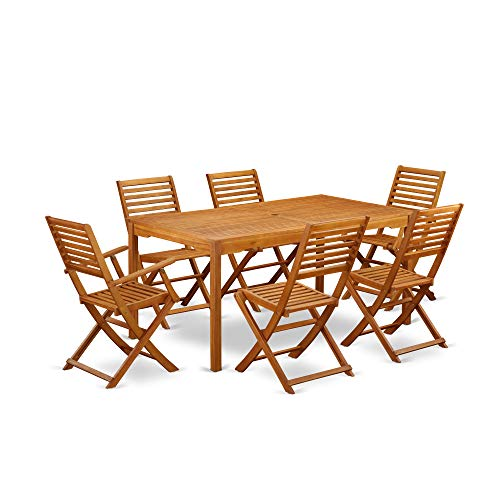 This 7 Pc Acacia Hardwood Patio Area Sets Includes A Single Outdoor Table And 4 Side Foldable Chairs Plus 2 Arm Foldable Outdoor Chairs 0