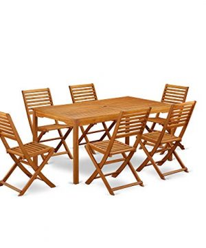 This 7 Pc Acacia Wooden Outdoor Dining Sets Includes One Outdoor Table And Six Foldable Outdoor Chairs 0 0 300x360