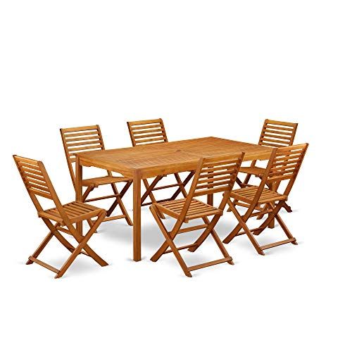 This 7 Pc Acacia Wooden Outdoor Dining Sets Includes One Outdoor Table And Six Foldable Outdoor Chairs 0 0