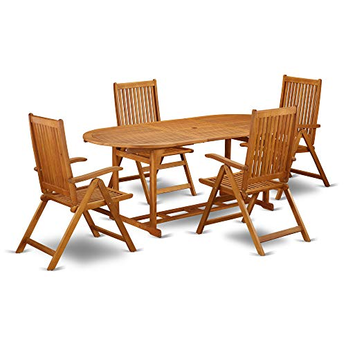 This 7 Piece Acacia Wood Outdoor Patio Dining Sets Includes One Outdoor Table And Six Foldable Outdoor Chairs 0 0