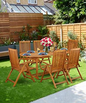 This 7 Piece Acacia Wood Outdoor Patio Dining Sets Includes One Outdoor Table And Six Foldable Outdoor Chairs 0 300x360