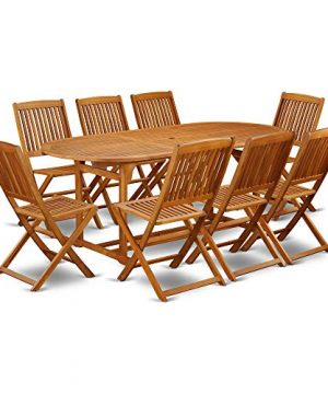 This 9 Pc Acacia Outside Patio Dining Sets Includes A Single Outdoor Table And Eight Foldable Outdoor Chairs 0 0 300x360