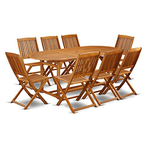 This 9 Pc Acacia Outside Patio Dining Sets Includes A Single Outdoor Table And Eight Foldable Outdoor Chairs 0 0