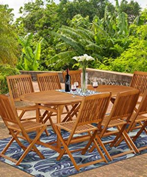 This 9 Pc Acacia Outside Patio Dining Sets Includes A Single Outdoor Table And Eight Foldable Outdoor Chairs 0 300x360