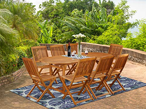 This 9 Pc Acacia Outside Patio Dining Sets Includes A Single Outdoor Table And Eight Foldable Outdoor Chairs 0