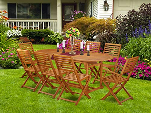 This 9 Piece Acacia Solid Wood Patio Area Dining Sets Provides You One Particular Outdoor Table And 6 Foldable Chairs Plus Two Arm Chairs 0 0