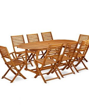 This 9 Piece Acacia Solid Wood Patio Area Dining Sets Provides You One Particular Outdoor Table And 6 Foldable Chairs Plus Two Arm Chairs 0 300x360