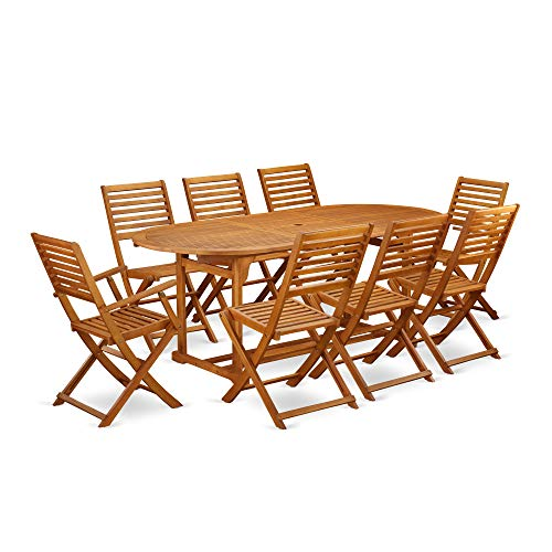 This 9 Piece Acacia Solid Wood Patio Area Dining Sets Provides You One Particular Outdoor Table And 6 Foldable Chairs Plus Two Arm Chairs 0