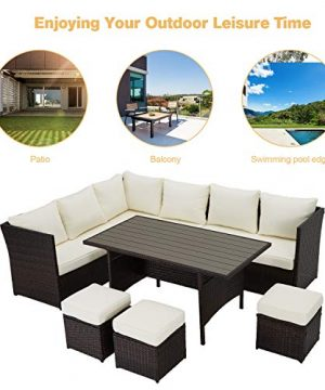 U MAX 7 Pieces Outdoor Sofa Set Wicker Rattan Patio Sectional Furniture Sets Wicker Sectional Patio Set Patio Dining Furniture With TableChair White 0 1 300x360