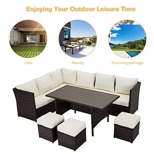 U MAX 7 Pieces Outdoor Sofa Set Wicker Rattan Patio Sectional Furniture Sets Wicker Sectional Patio Set Patio Dining Furniture With TableChair White 0 1