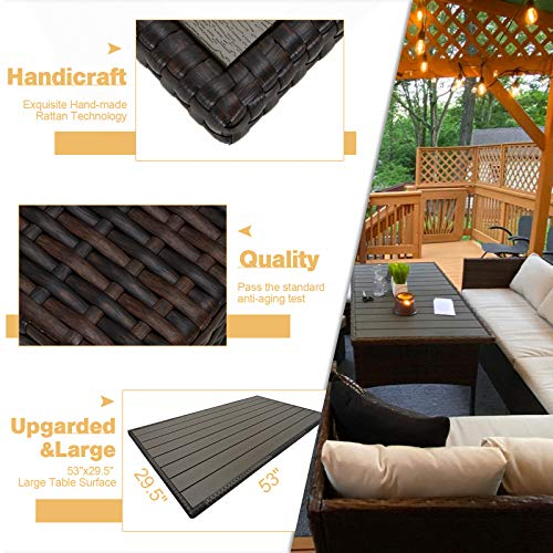 U MAX 7 Pieces Outdoor Sofa Set Wicker Rattan Patio Sectional Furniture Sets Wicker Sectional Patio Set Patio Dining Furniture With TableChair White 0 2