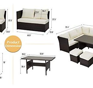 U MAX 7 Pieces Outdoor Sofa Set Wicker Rattan Patio Sectional Furniture Sets Wicker Sectional Patio Set Patio Dining Furniture With TableChair White 0 4 300x284