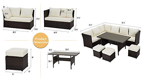 U MAX 7 Pieces Outdoor Sofa Set Wicker Rattan Patio Sectional Furniture Sets Wicker Sectional Patio Set Patio Dining Furniture With TableChair White 0 4