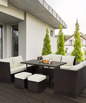 U MAX 7 Pieces Outdoor Sofa Set Wicker Rattan Patio Sectional Furniture Sets Wicker Sectional Patio Set Patio Dining Furniture With TableChair White 0 5 300x360