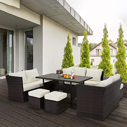 U MAX 7 Pieces Outdoor Sofa Set Wicker Rattan Patio Sectional Furniture Sets Wicker Sectional Patio Set Patio Dining Furniture With TableChair White 0 5