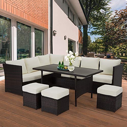 U MAX 7 Pieces Outdoor Sofa Set Wicker Rattan Patio Sectional Furniture Sets Wicker Sectional Patio Set Patio Dining Furniture With TableChair White 0