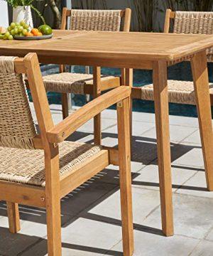 VIFAH Chesapeake Outdoor Natural 7 Piece Dining Set Golden Oak Wood Color 0 1 300x360