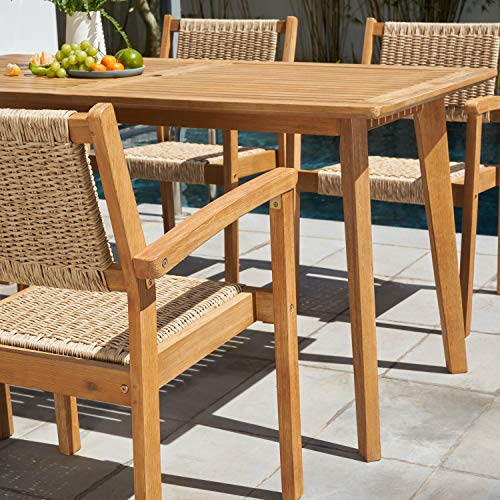 VIFAH Chesapeake Outdoor Natural 7 Piece Dining Set Golden Oak Wood Color 0 1